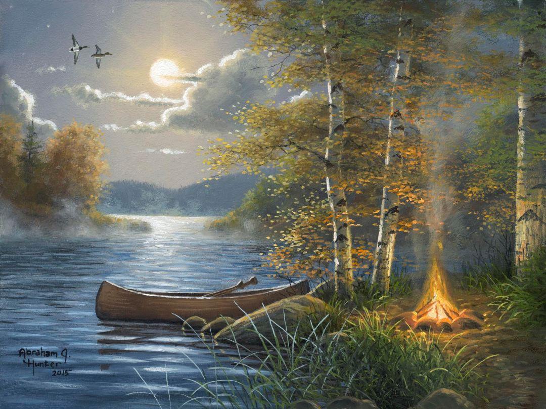 Moonlit Camp By Abraham Hunter 187 Infinity Fine Art